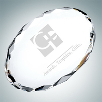 Gem-cut Oval Crystal Glass Paperweight