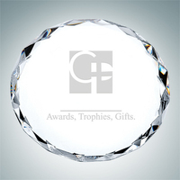 Gem-cut Circle Crystal Glass Paperweight