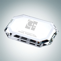 Beveled Rectangle Crystal Glass Paperweight
