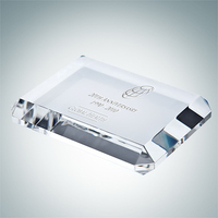Beveled Crystal Glass Rectangle Paperweight