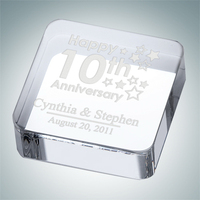 Square Crystal Glass Paperweight