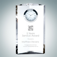 Pioneer Tower Crystal Glass Clock Award