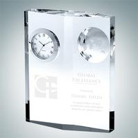 Crystal Glass Globe Plaque Clock Award