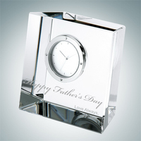 Slanted Block Crystal Glass Clock