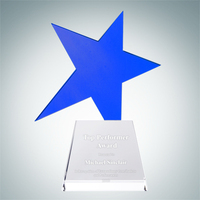 Meteor Blue Star Crystal Glass Award