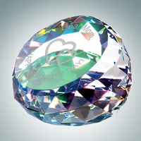 Crystal Glass Color Coated Gem-Cut Round