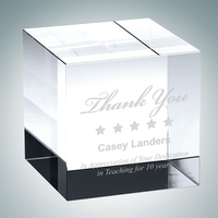 Crystal Straight Cube Paperweight