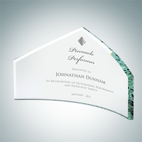 Jade Glass Beveled Peak Award Small
