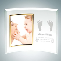 Jade Glass Personalize Curved Vertical Gold Photo Frame