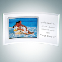 Jade Glass Personalize Curved Horizontal Silver Photo Frame