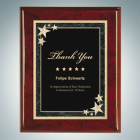 Rosewood Royal Piano Finish Plaque - Black Starburst Plate