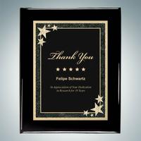 Black Piano Finish Plaque - Black Starburst Plate