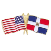 World Flag - USA & Dominican Republic Flag Pin