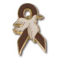 Brown Ribbon White Dove Lapel Pin