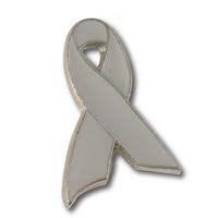 Gray Awareness Ribbon Lapel Pin