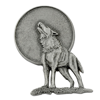 Lone Wolf Howling at the Moon Lapel Pin