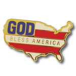 God Bless America Map Flag Lapel Pin