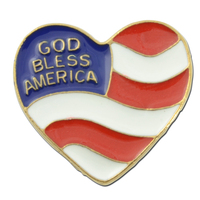 Heart God Bless America Lapel pin