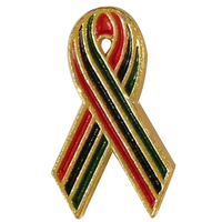 African American AIDS Awareness Ribbon Lapel Pin