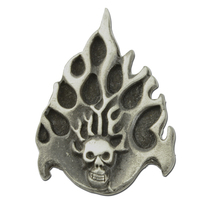 Skull with Flames Lapel Pin