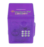 Electronic safe bank includes 4 AA batteries