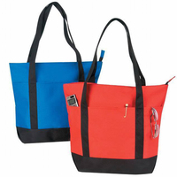 Poly Zipper Tote Bag with Black Handles