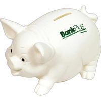Traditional White Pig Ceramic Look Vinyl Bank