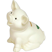 Sitting Pig White Ceramic Look Vinyl Bank