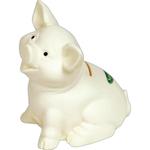 Sitting Pig White Ceramic Look Vinyl Bank