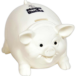 Biggy Pig White Ceramic Look Vinyl Bank