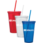 Double Wall Acrylic Cup with Straw