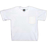 White genuine Hanes pocket beefy tee