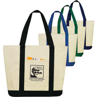 Two Tone Zippered Canvas Boat Tote
