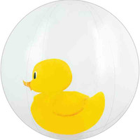 "16"" Inflatable Clear Beach Ball with Duck Insert"