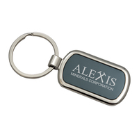 Two Tone Rectangular Metal Keychain