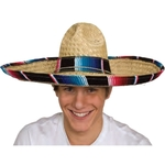 Straw Sombrero With Serape Band