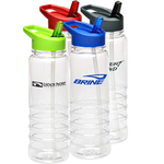 24 oz Gripper Bottle with Colored Cap and Straw