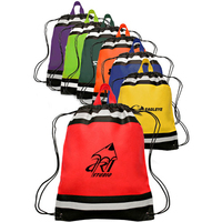 "13"" W x 16"" H Small Reflective Drawstring Backpacks"