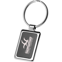 Black and Chrome Rectangular Metal Keychain