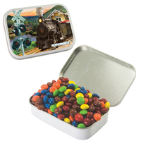 Large Tin with Chocolate Littles- Compare to M&M candy(r)