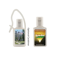 1/2 oz Flat Antibacterial Hand Sanitizer Bottle w/ Carabiner