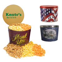 Designer Two Gallon Popcorn Tin - Three Flavors, Flag and St