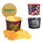 Designer 2 Gal. Popcorn Tin-Two Flavor, Flag and Streamers