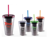 Tumbler with Stainless outer, Lid & Straw