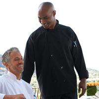 Classic Black Poplin Chef Coat- 10 blk btns