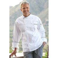 San Marco White Chef Coat-10 Hand-rolled cov btns