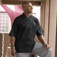 Aruba Black Chef Coat- 1/2 Sleeve: 12 cov btns