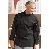 Santorini Black Chef Coat- Hidden Snap Closure