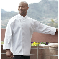 Santorini White Chef Coat- Hidden Snap Closure
