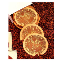 Set of Four Suede Russet Coasters with Holder